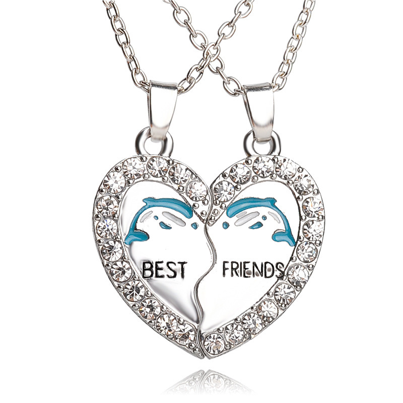 2016 Forever Love White Rhinestone Dolphin Best Friends Pendant Necklace Set Split Broken Heart BF Puzzle Jewelry Couple Gifts(China (Mainland))