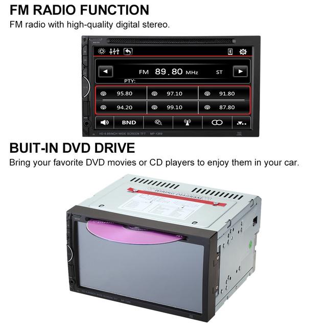 KKmoon 7 Дюймов Универсальный 2 Din Автомобильный DVD/USB/SD Игрока HD Красивый ИНТЕРФЕЙС Мультимедиа Bluetooth Радио Развлечения