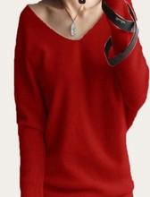 2019 primavera otoño cachemir suéteres mujer moda sexy cuello pico suéter suelto 100% lana suéter manga murciélago talla grande pulóver(China)