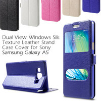 For Samsung Galaxy A5 SM-A500F Case Dual-window Silk Leather Bracket Phone Bag Case Back Cover Shell for Galaxy A5