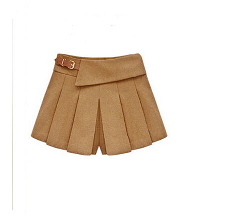 autumn winter fashion all-match woolen pleated skirts female European American trend new models skirt shorts women S1022(China (Mainland))