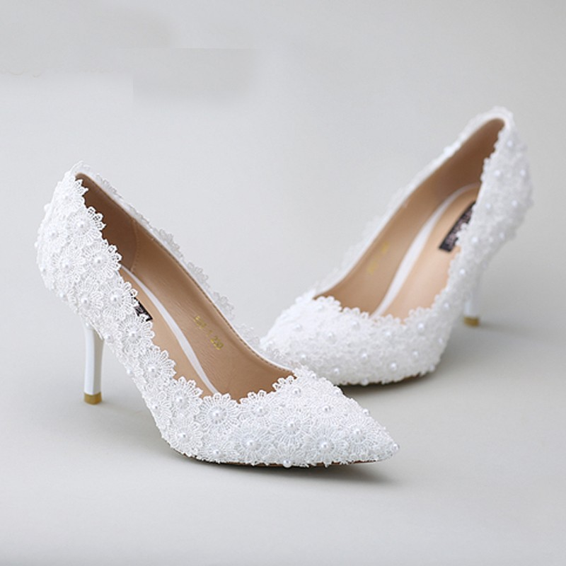 Lace Flower Pointed Toe Satin  Party Shoes Beautiful Red Lace Wedding Shoes Middle Heel Pearl Bridal Shoes  Popular Formal Shoes