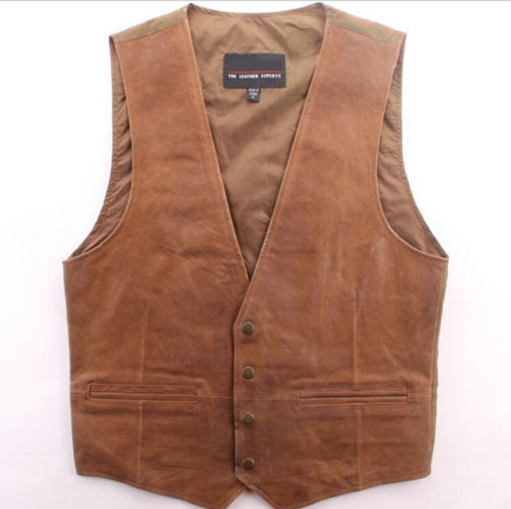 leather Vest Classic Western Cowboy mens Motorcycle Environmental protection new Bartender North West Theatrical performance(China (Mainland))