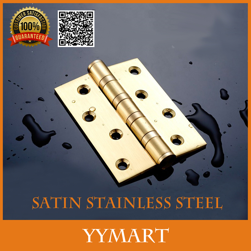 "2Pcs 4"" Satin Gold Stainless Steel Bearing Flat Open Door Hinges Thicken Folding Sheet Slient Door Hinge(China (Mainland))"