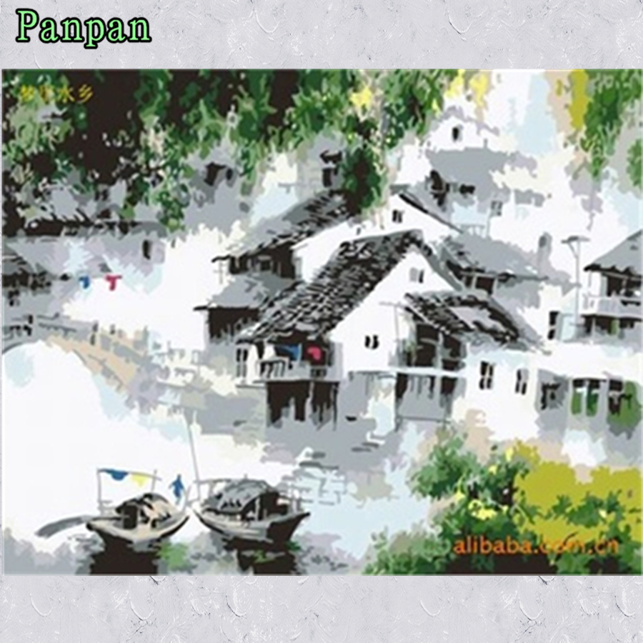 2016 New Framed wall art Abstract Hand painted canvas oil paintings Coloring by numbers Landscape Diy Digital Painting by number(China (Mainland))