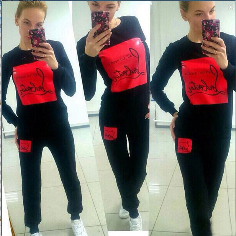 2015 Fashion Women Sportswear Printed Letter Fall Tracksuits Long-sleeve Casual Costumes Mujer 2 Piece Set Women Sport Suit 3030(China (Mainland))