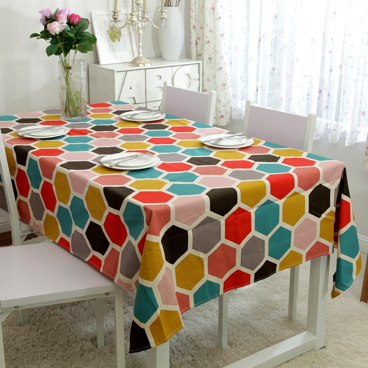 100% Cotton Table Cloth Europe Colorful Hexagon Printed Tablecloth manteles para mesa High Quality rectangle Table Cover(China (Mainland))