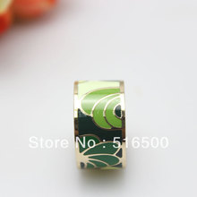 Free Shipping! Green Feather Rose Gold Plated Enamel Jewelry Ring, 1 pc/pack