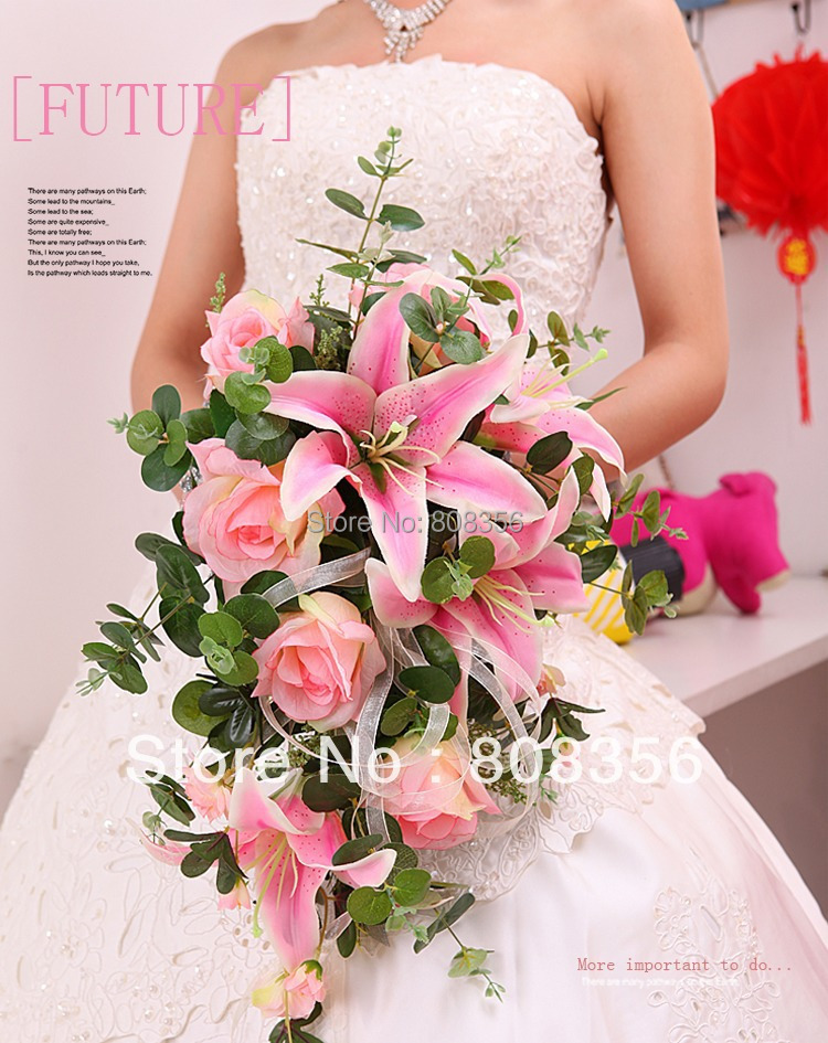 "New Arrivals Color Pink & Cream 50cm/19.69"" Length Artificial Simulation Rose & Lily Flowers Handmade Flowers Bridal Bouquet(China (Mainland))"