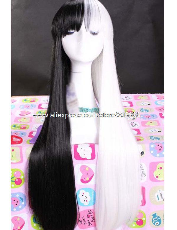 Гаджет  White and Black Long Straight Cosplay Wig anime halloween christmas Free Shipping None Изготовление под заказ