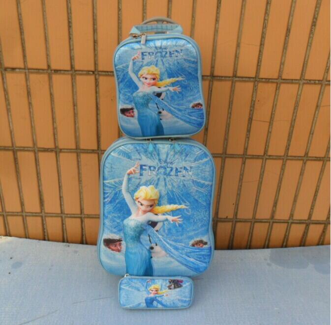 Retail Cartoon travel bag suitcase wheel Rolling Luggege set Elsa& Anna Trolley Bags +Lunch Box +pencil Case