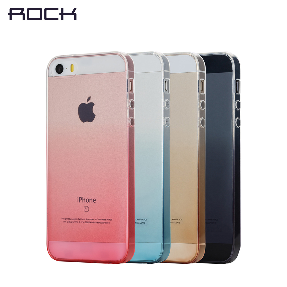 Mobile Phone Case for iPhone SE / iPhone5 / iPhone5s Semi Transparent TPU Cover Gradient Color 360 Full Body Protect ROCK(China (Mainland))