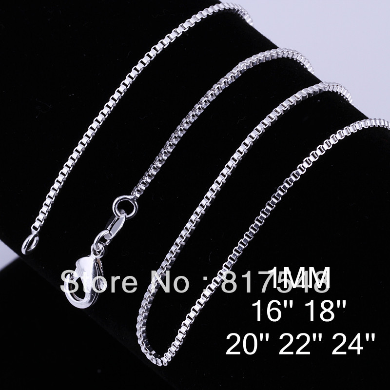 """5pcs lot ,Free ship 925 Sterling Silver 1mm Box Chains for Pendants Necklace 16"""",18"""",20"""",22"""",24"""" ,women necklace(China (Mainland))"""