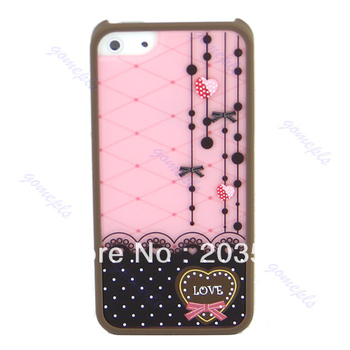 D19+Lovely Cute Love Lace printed Back Shell Hard Case Cover Skin Protector for Apple iPhone 5 5G New Wholesale