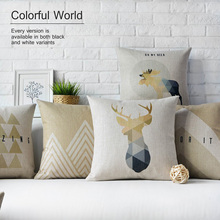 Nordic deer thick linen pillow cushions