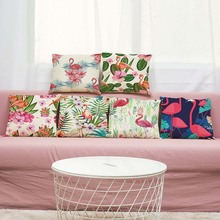 Buy 45*45CM Flamingos Cushion Cover Cotton Linen Decorative Animal Pillowcase Chair Seat Waist Square Pillow Cover Home Textile for $3.55 in AliExpress store