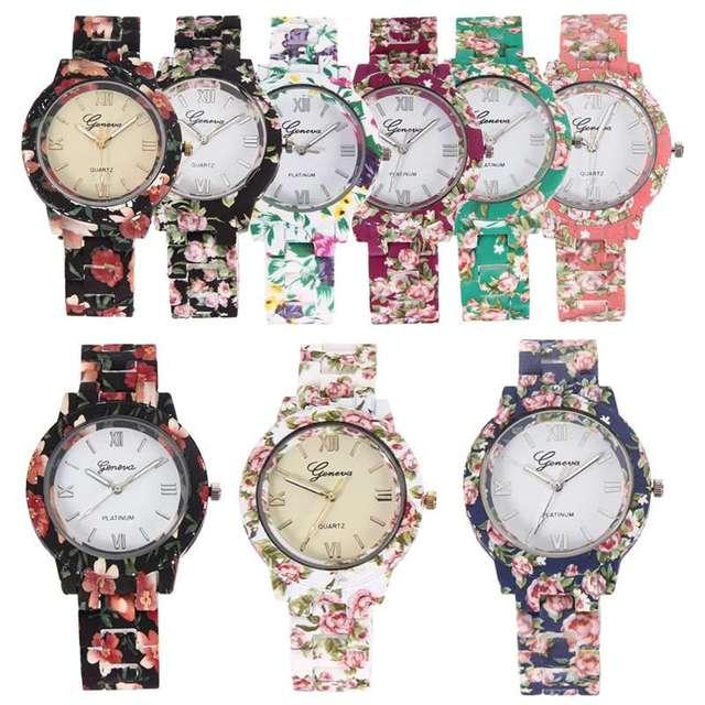 Zegarek damski GENEVA ceramiczne kwiaty rokoko różne kolory