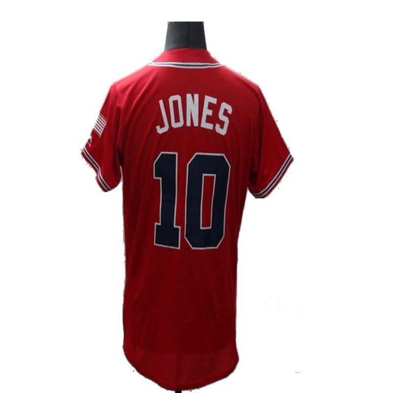 2016 New Fabric Flexbase Version #10 Chipper Jones Jersey Color Green Red White Heat-sealed Tagless Jerseys(China (Mainland))