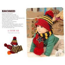 Baby Girls Kids Boys Smile Stars Striped Hat+Scarf 2PCS Set Acrylic Ear Cap 1-4Y (China (Mainland))