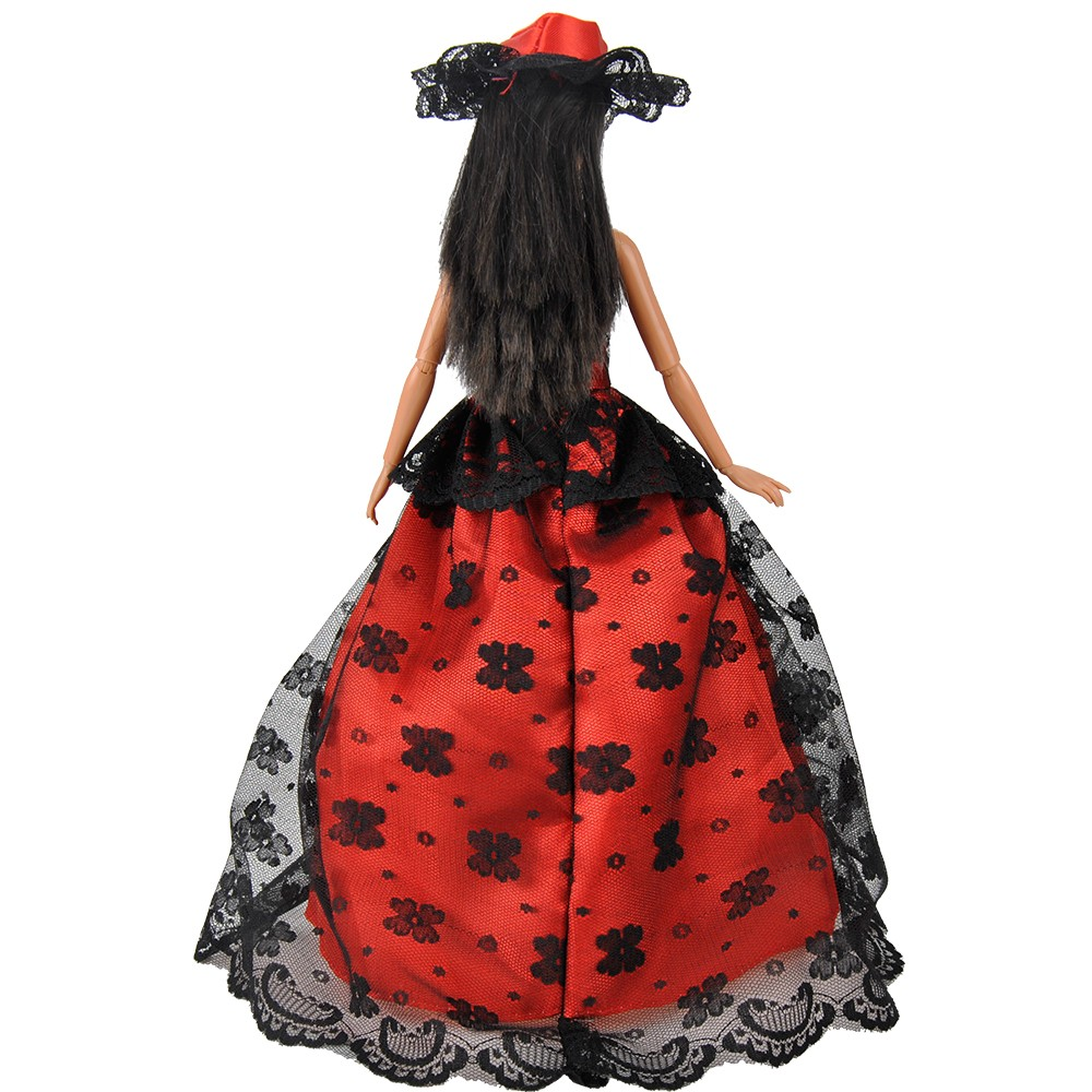E-TING  Trend Purple Black Lace Doll Garments Night Gown Ballgown + Hat For Barbie S