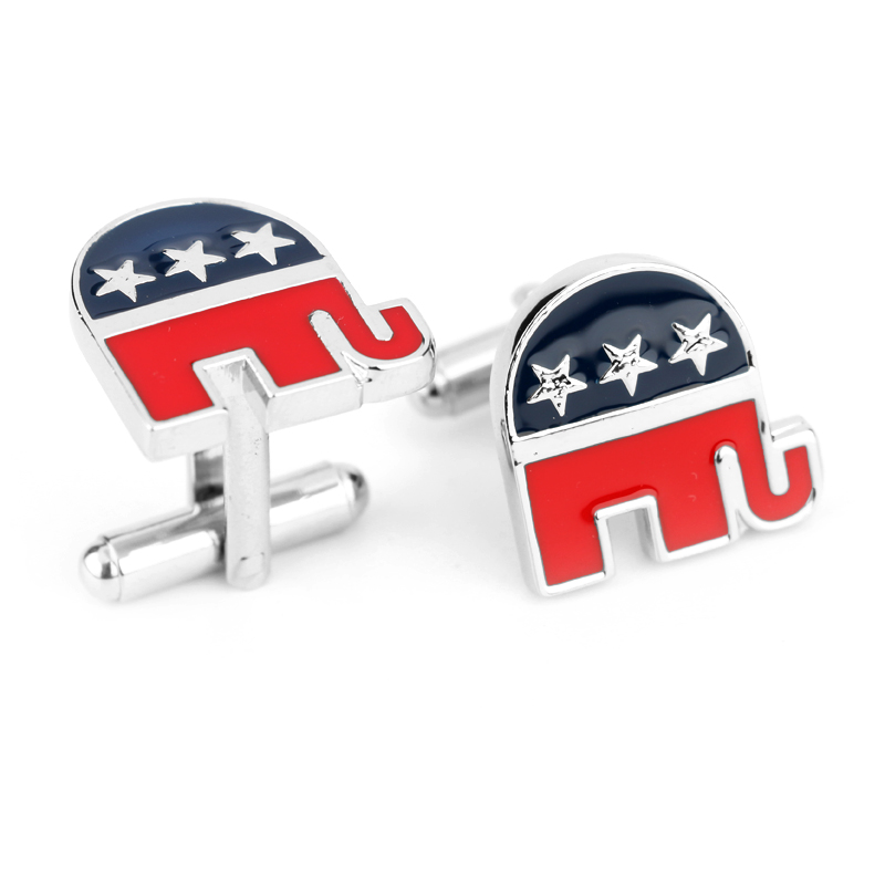 Republican Party Of The United States Logo Shirt Brand Cuff Buttons Top Grade Enamel Cufflinks For Mens Wholesale Cuff Links Hot<br><br>Aliexpress