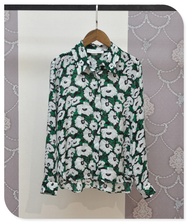 Floral Print 100% Silk Womens Shirts 2016 Spring Fashion Asymmetrical Long Sleeve Blouses New Camisa Mujer New Brand