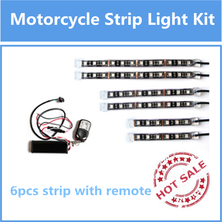 American popular HOT SALE 6pcs rgb motorcycle led strip light kit neon glow strip with Remote Controller(China (Mainland))