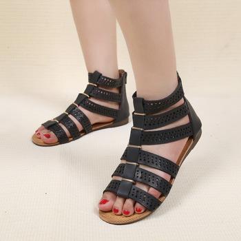 2015 мода плоские сандалии гладиаторов женщины черные сандалии женская обувь на лето 4 цвета