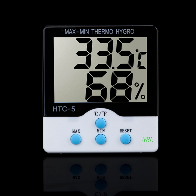 Backlight Digital Thermometer Hygrometer Household Temperature Humidity Meter HTC-5 Indoor LCD Electronic Tester High Accuracy(China (Mainland))