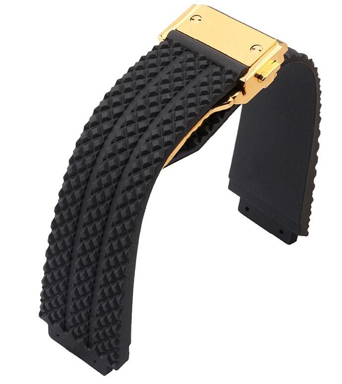 26 мм высокое качество черный резиновый ремешок ремешок роуз развертывания застежка для марка бесплатная доставка