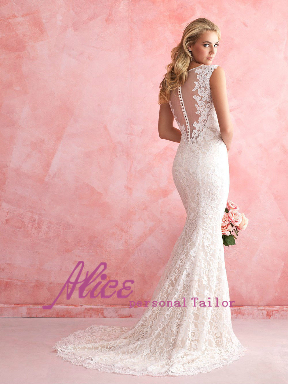 Кружева русалка свадебные платья 2015 сексуальная видеть сквозь русалочка элегантный белое свадебное платье 2015 горячая распродажа Sweetangel