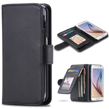 Leisure Wallet Case For Galaxy S6/ S6 Edge/ Note 4 Leather Classic Black Folded Cover for Samsung Note 4 S6 /Edge Flip Card Slot