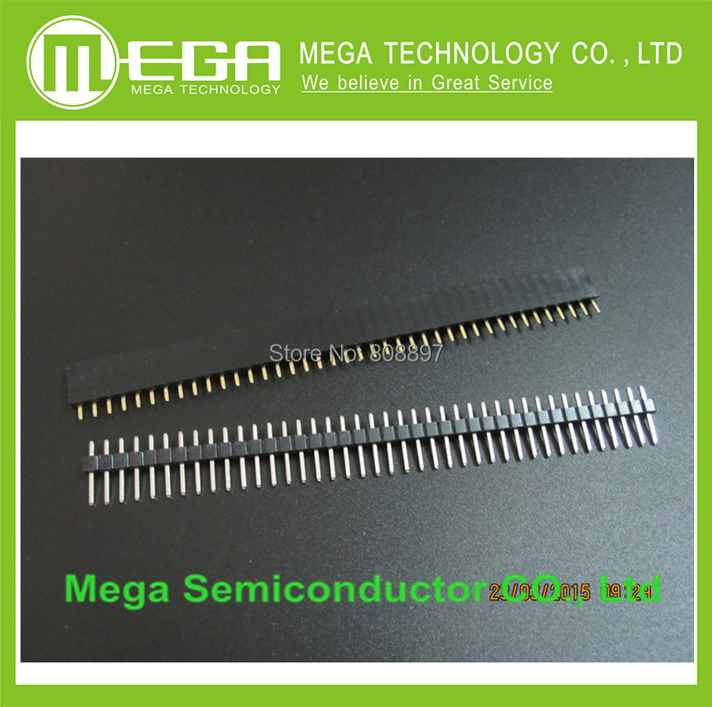 1 lote = 10 unids 1x40 Pin 2.54mm Single Row Hembra + 10 unids 1x40 Integrated Circuits Clavija macho Header conector(China (Mainland))