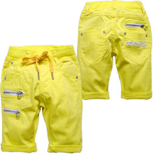 3660 soft summer casual   pants  boys's girls's capris 50% cents  boy girl knee-length yellow green milk white three color(China (Mainland))