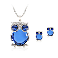 8 Colors Trendy Owl Jewelry Sets Fashion Rhinestone Crystal Jewelry Statement Women Gold Silver Chain Necklace And Earrings(China (Mainland))