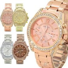 Women s Fashion Geneva Bling Crystal Stainless Steel Analog Quartz Wrist Watch 2DLT