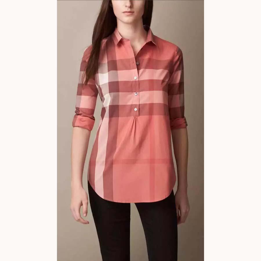Ladies Shirts Beautiful Blouse Top Fashion Clothes Women 2016 Long Sleeve England Classic Loose Plaid Shirts Plus Size(China (Mainland))