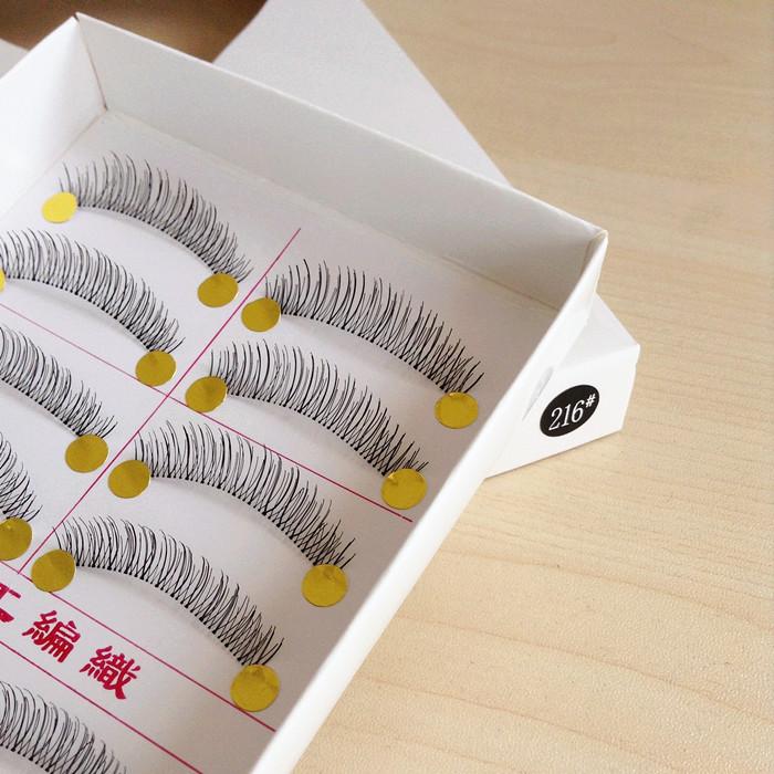 10 Pairs Handmade Eyelash Fake False Eyelash Natural Look Transparent Stem 217 and 216 Eyelash Free Shipping(China (Mainland))