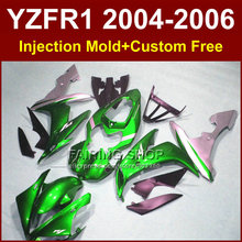 Buy Custom Injection body fairings kit for 2004 2005 2006 YAMAHA YZFR1 04 05 06 YZF R1 YZF1000 green silver motorcycle fairing kits for $399.90 in AliExpress store