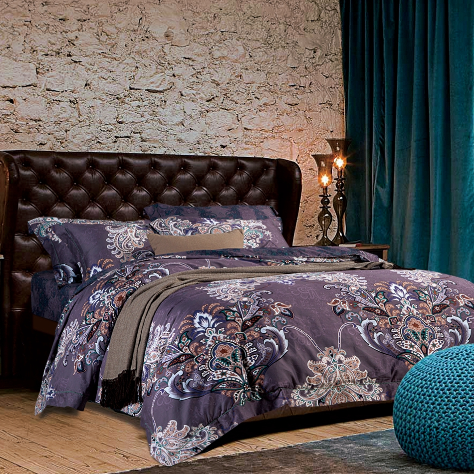 luxury soft purple duvet cover set,queen king size duvet cover bed sheet pillowcase 100% Egyptian cotton bedding set/bed linens(China (Mainland))