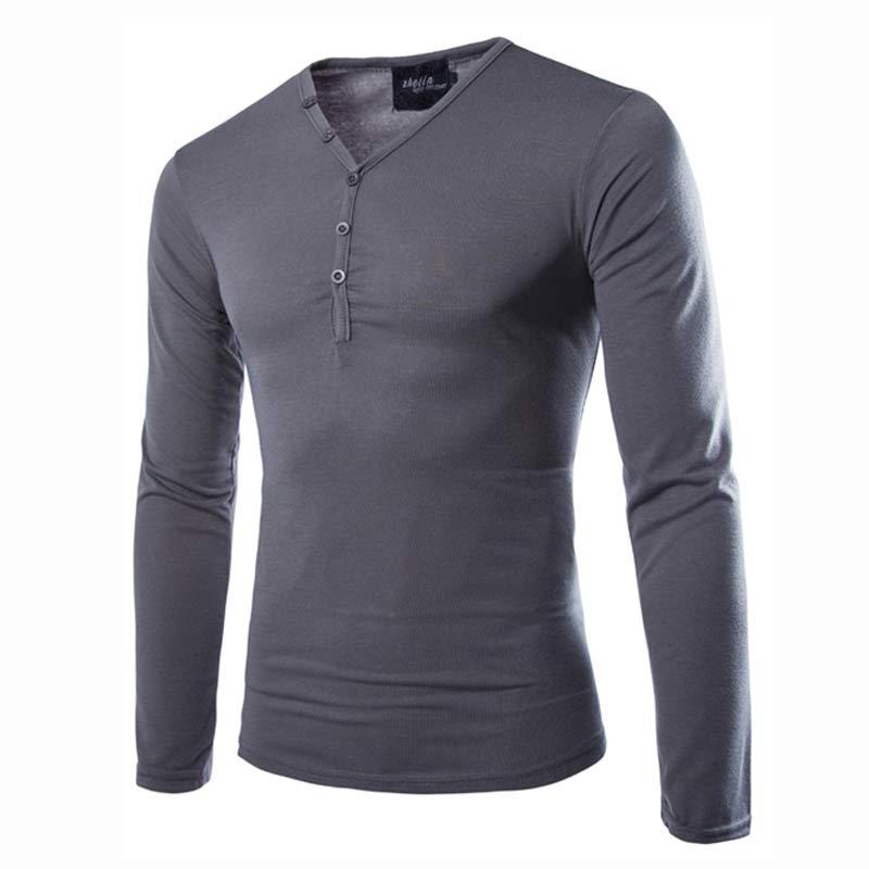 new arrival t shirt men tee shirt homme 2016 fashion v neck long sleeve tshirt casual dark gray. Black Bedroom Furniture Sets. Home Design Ideas