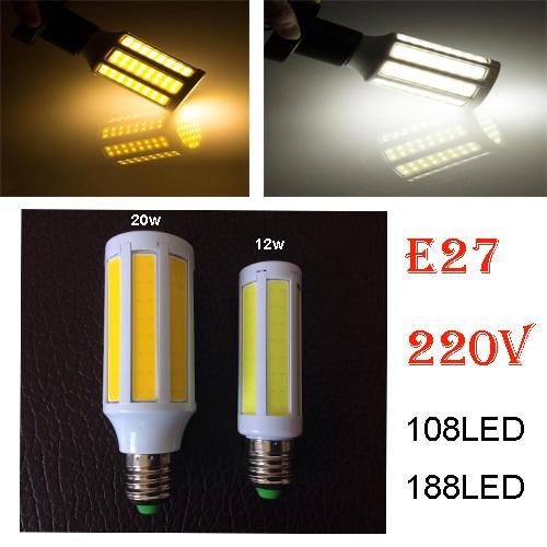 Super Bright COB Led Corn Light 20W 12W E27 Bulb white/warm white lamp 108LEDs 188LEDs AC 220V 360 Degree Spotlight home light(China (Mainland))
