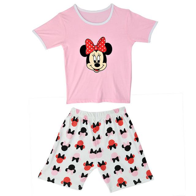 Девочки-младенцы мальчики Pijamas одежда комплект комикс минни Pyjama костюм 2 шт. короткая дети пижамы дети одежда CF216