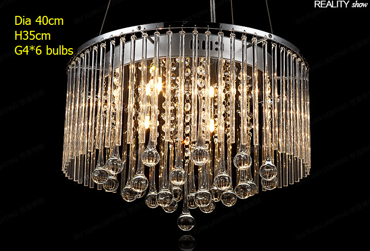 HOT SALES! Cheaper price Clear glass water-drop fancy modern round pendant light /rectangle dinner G4*6 light corridor Lamp(China (Mainland))
