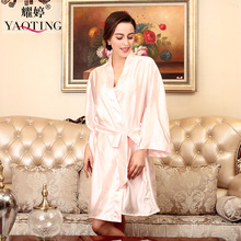 Long Sleeve Bathrobe Women Silk Robe Solid Color Bridesmaid Robes Chinese Kimono Bath Gown Wedding D7 - Wild Child store