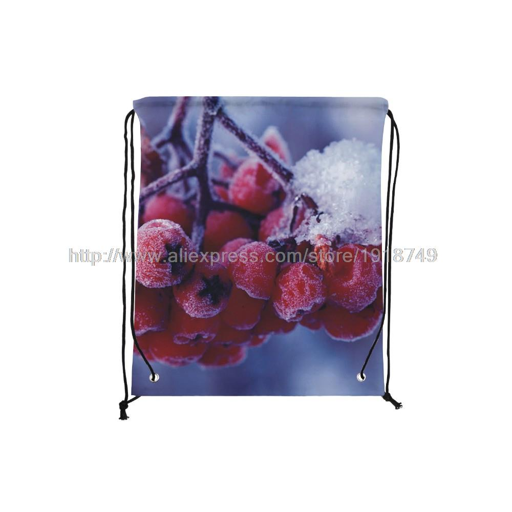 four pcs/lot waxberry with ice printed custom drawstring backpack foldable christmas xmas decoration personalised shopping bags(China (Mainland))