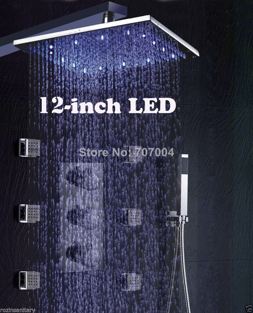 New Free Shipping Wholesale And Retail 12-inch Thermostatic Wall Mounted Shower Kit + 6pcs Body Sprays Chrome Finish(China (Mainland))