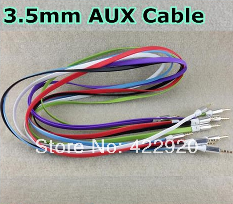 3.5mm audio cable cord Car Aux Cable Flat Noodle 1m 3FT male to male for mobile phone mp3 speaker(China (Mainland))