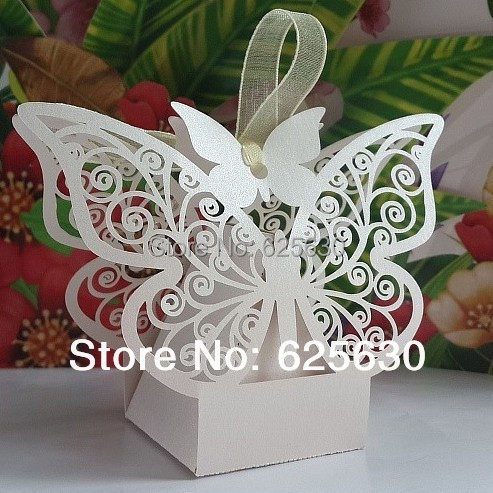 2015 10Laser cut White Pink Butterfly Wedding Candy Favor Box wedding favors gift baby shower Birthday - Health & Life store