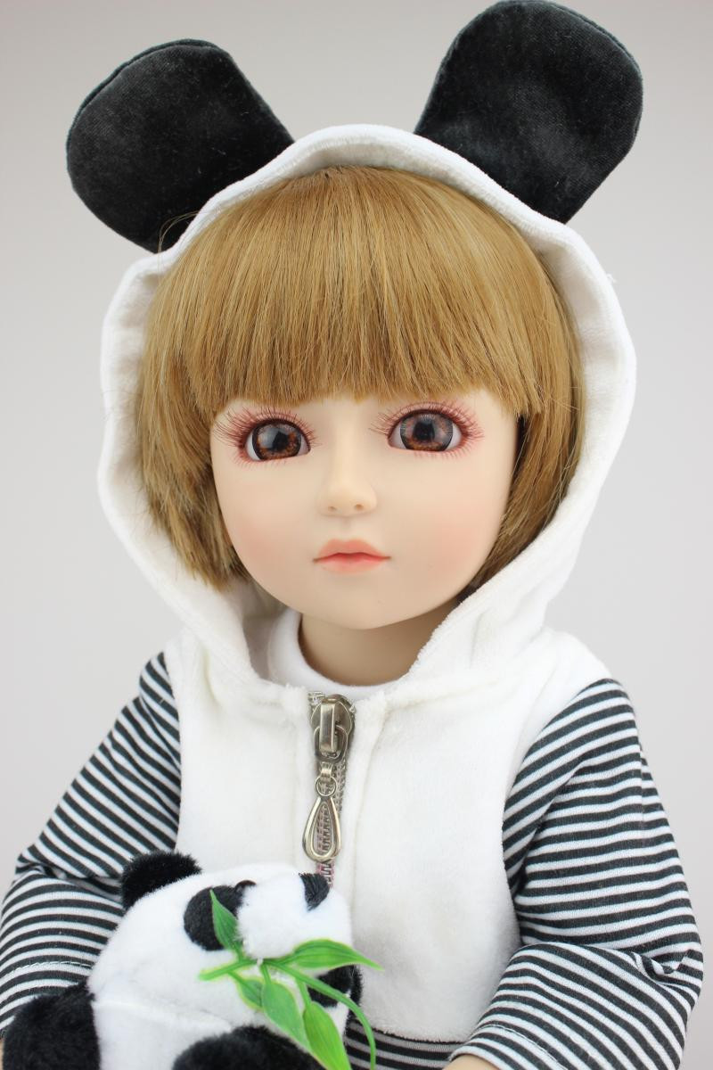 Фотография Lovely 18inch Baby Dolls For Girls With Bear Clothes Hot Welcome SD /BJD Doll Best Enducational Toys For Girl As Christmas Gift